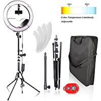 Emart 18 inch 480 LED Ring Light Photography, 55W Dimmable & Adjustable Color Temperature(3200K-5600K) Circle Lighting Kit for Makeup, Camera Photo Studio Video Shooting
