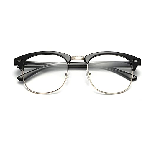 6f6fb315db8 New Vintage Classic Half Frame Semi-Rimless Wayfarer Clear Lens Glasses  (black)