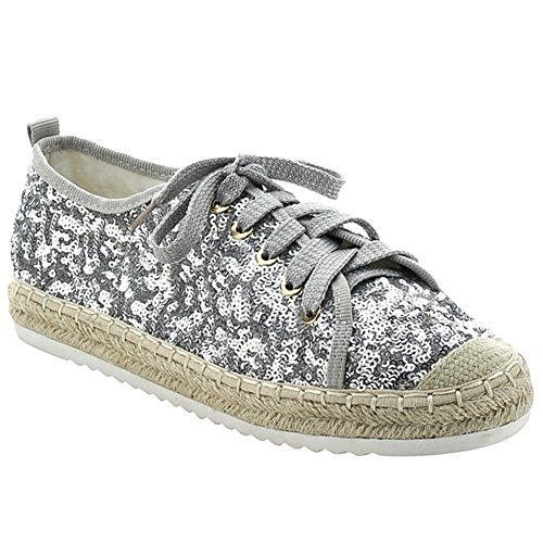 SNJ Womens Flat Lace Up Glitter Fashion Sparkly Sneaker Silver Glitter Lace Up 22ECR