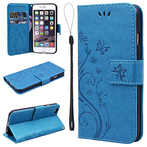 iPhone 6 Plus Case, iPhone 6S Plus Wallet Case, SmartLegend Embossed Floral Butterfly PU Leather Flip Cover with TPU Soft Bumper Case & Card Holders & Hand Strap for iPhone 6/6S Plus 5.5