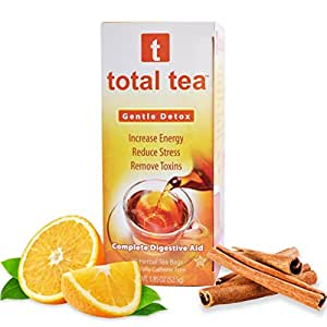 Total Tea Gentle Detox Tea. Herbal Cleanse Tea Supplement for Health with Senna - Detox Cleanse for Weight Loss to get Skinny & Fit - 14 Day Diet - 25 Sealed Teabags for Liver Cleansing Relief