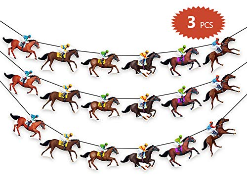 90shine Kentucky Derby Banners Party Supplies Horse Racing Streamers Decorations(3PCS) ()