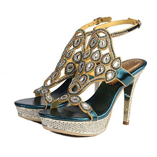 Heel Señoras Strappy Nvxie Zapatos Low Mid Blue High Prom Tamaño Diamante Mujeres Party Sandalias x5wqYqrX