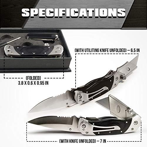 250d3bec8cf75 Premium Utility Knife, Folding Pocket Knife Combo, Box Cutter, Heavy ...
