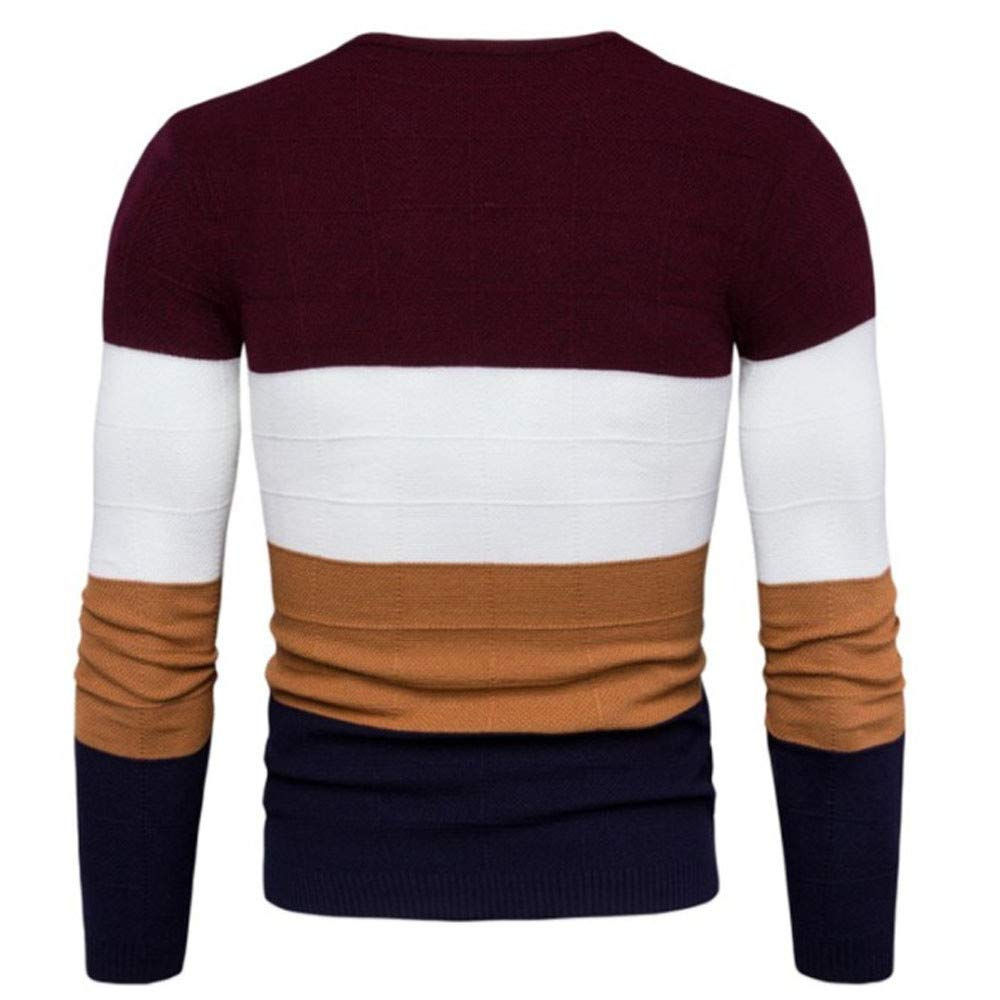 iLXHD 2018 Mens Long Sleeve Patchwork Pullover Knitted Sweater Sweartshirts