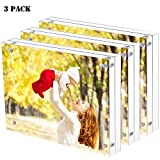 11 3 4 x 16 1 2 frame - Sooyee 3 Pack 5X7 Acrylic Frames, Clear,Magnetic Photo Frame, Double Sided Frameless Standing in Desktop Picture Display(10 + 10MM Thickness)
