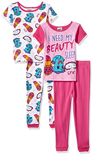 (Shopkins Big Girls' Collection 4-Piece Cotton Pajama Set, Beauty Sleep Pink, 10)