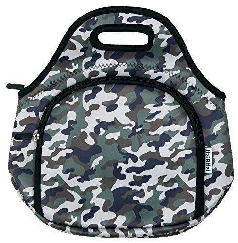 ITZI BITZI Camouflage Neoprene Insulated Kids Lunch Bag, Reusable Lunchbox | Machine Washable with Double Zipper Pockets - Camo Army Green Doubles Kit Blue Camo