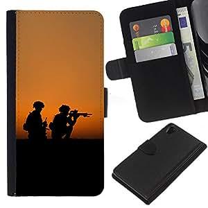 KingStore / Leather Etui en cuir / Sony Xperia Z2 D6502 / Soldaty oruzhie armiya