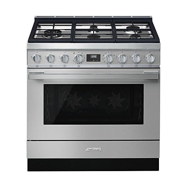 Smeg Portofino CPF36UGMX 36''x 25'', 4.5 cu. ft. Oven Freestanding Pro-Style Dual Fuel Range, Stainless Steel 1