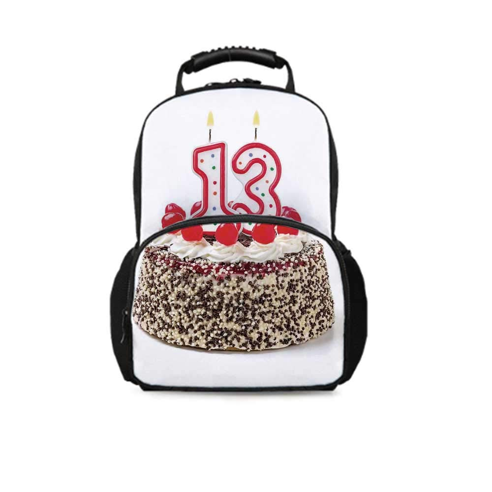 13th Birthday Decorations Leisure School Bag,Cake with Numeral Candles and Cherries Yummy Desert For Party for School Travel,One_Size