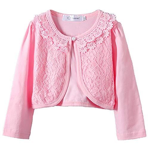 (Girls Long Sleeve Bolero Jackets Lace Flower Shawl Short Cardigan Shrug Pink 7-8T)