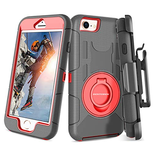 iPhone 8 Case, iPhone 7 Case, BENTOBEN Heavy Duty Full Body Rugged Rotating Kickstand Swivel Ring Belt Clip Holster Hybrid Shockproof Protective Tough Phone Case Cover for iPhone 8/iPhone 7, Black/Red