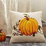 "Cassiel Home Autumn Pumpink Deco Pillow Cover,Harvest Pumpkin Decorative Embroidery Pillocase Cushion Cover,1PCS Thanksgiving Pillow Cover 18x18""/45x45cm."