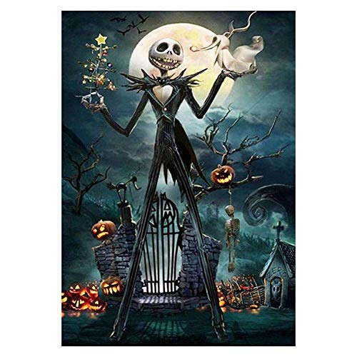 5D Halloween Pumpkin Man Full Embroidery Paintings Rhinestone Pasted DIY Diamond Painting Cross Stitch Wall Decor for Halloween Gift