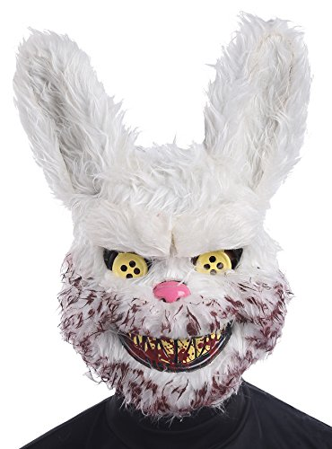 UHC Men's Horror Snowball Evil Bunny Rabbit Mask Halloween Costume (Scary Rabbit Costume)