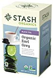 Stash Tea Organic Earl Grey Black Tea, 18 Count Tea Bags in Foil (Pack of 6) Individual Tea Bags for Use in Teapots Mugs or Cups, Black Tea and Green Tea, Brew Hot or Iced