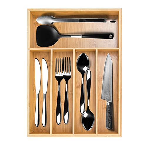 Bamboo Silverware Drawer Organizer, Utensil Drawer Organizer with 5 Compartments for Flatware and Kitchen Organizer