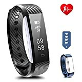 Fitness Tracker - Ronten R2-HR Heart Rate Activity Wristband Waterproof Bluetooth Smart Bracelet,Wireless Touch Screen Fitness Watch with Replacement Band for Android & IOS (Black+blue(strap))