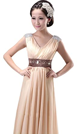 New Women Chiffon Empire Bridesmaid Evening Formal Party Ball Gown Prom Dress Champagne Small