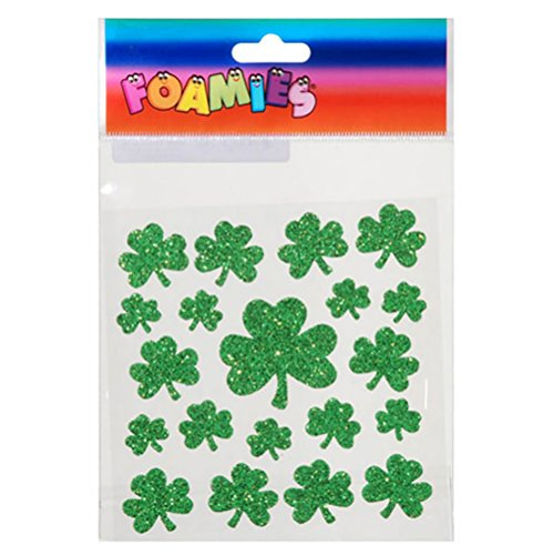 Darice St. Patrick's Day Foam Stickers-Shamrocks-Green (1 Pack)