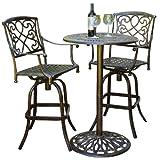 Christopher Knight Home 220510 Paris Outdoor 3pc Copper Cast Aluminum Bistro Set