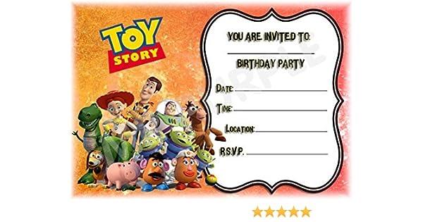 Disney Toy Story Fiesta de cumpleaños invitaciones – diseño de paisaje de marco – Invitaciones de fiesta suministros/accesorios (Pack de 12) WITH ...