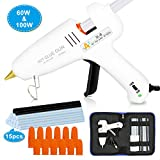 Hot Melt Glue Gun 60/100W Dual Power Glue Gun Kit with Carry Bag and 15pcs Glue Sticks (13 White + 2 Black), 12 Finger Tips for DIY, Craft, Sealing, Light and Heavy Duty, Arts & Home and Repairs.