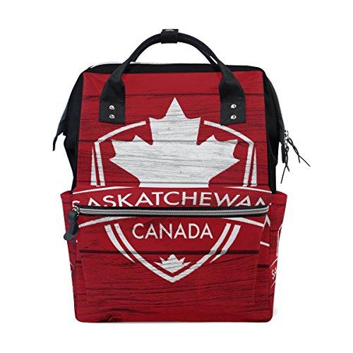 Saskatchewan Province Canada Maple Leaf Flag Mommy Bag Mother Bag Travel Backpack Diaper Bag Daypack Nappy Bags for Baby Care Large Capacity -