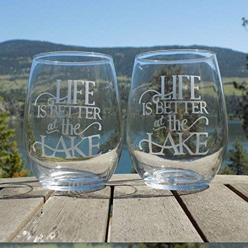 Life is Better at the Lake, Cottage by The Lake House Decor, 20oz Etched Wine Glasses