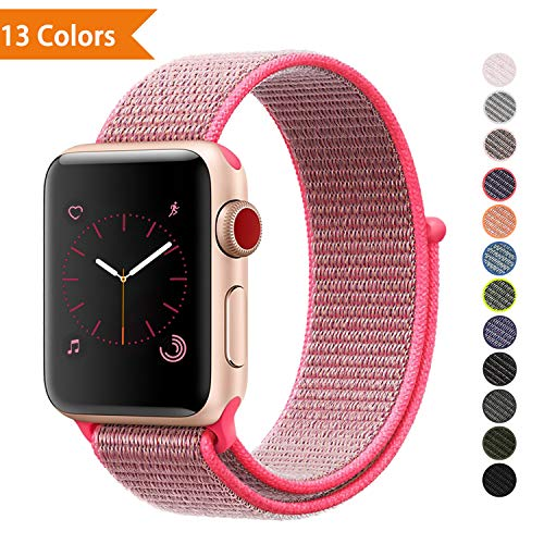 YOUKEX❤️ Watch Strape Wrist-Band Compatible with Apple Watch 38mm 42mm, Soft Nylon Sport Loop, Replacement Band for iWatch Series 1, Series 2, Series 3, Series 4, Sport, Edition 38MM Hot Pink