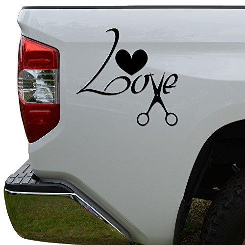 WenNuNa Love Scissor Barber Haircut Die Cut Vinyl Decal Laptop Car Truck Bumper Window Sticker