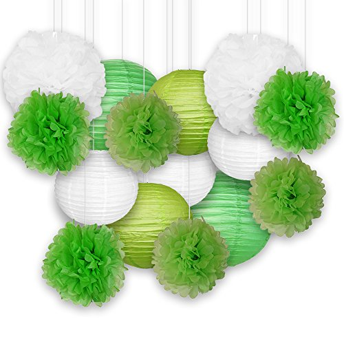 Just-Artifacts-Decorative-Paper-Party-Pack-15pcs-Paper-Lanterns-and-Pom-Pom-Balls-GreensWhite