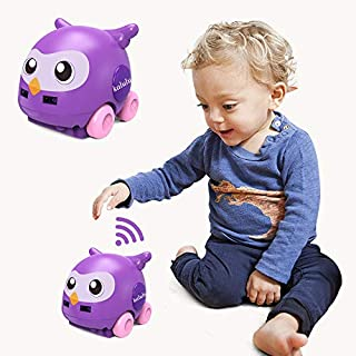 FLYWYL Baby RC Cars Toys - Remote Control Motion Sensing Auto Follow Avoidance Toy Cars with LED Light and Music USB Charging Kids Gift (Purple)