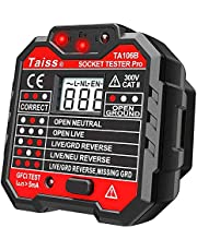Twidec/Socket Tester with GFCI check. Receptacle Tester for Standard AC Outlets. Automatic Electric Circuit Polarity Voltage Detector Breaker Finder,Includes 7 Visual Indications and Wiring Legend TA106B