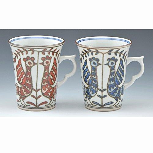 Kiyomizu-kyo yaki ware. Set of 2 Japanese mug cups someaka kacho with paper box. Porcelain. kymz-CGS724