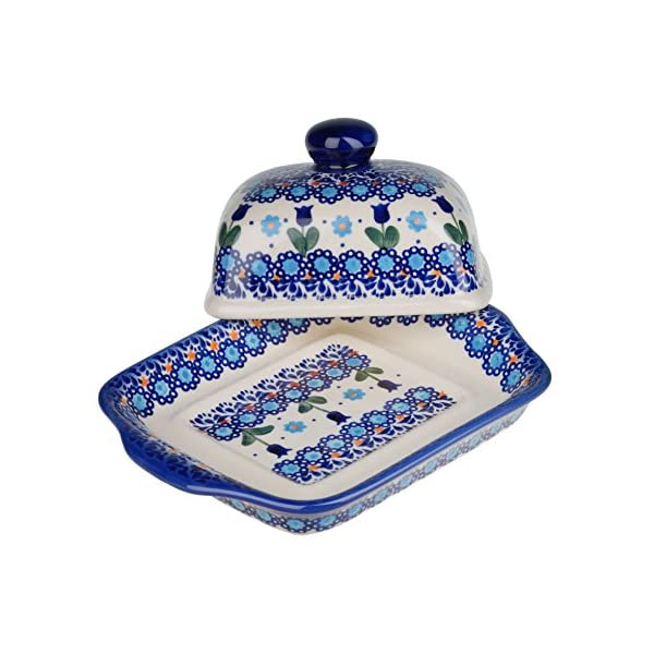 BCV Classic Boleslawiec Pottery Hand Painted Stoneware Butter Dish with lid 067 (U-006)