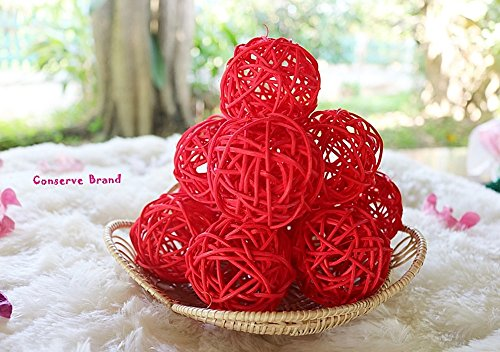 Thailand's Gifts : Small Red Rattan Ball, Wicker Balls, DIY Vase And Bowl Filler Ornament, Decorative spheres balls, Perfect For Decoration On Any Occasion 2-2.5 inch, 12 Pcs. by Conserve's Rattan Ball