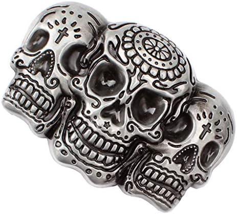 Novelty 3D Double Skull Head Vintage Western Belt Buckle Metal Punk Men