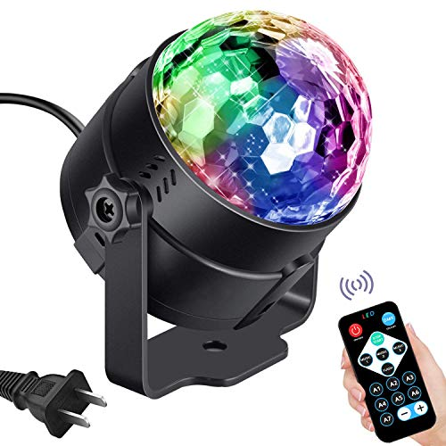 Vnina Disco Lights LED Disco Ball Party Lights Strobe Light for Parties Dance DJ Stage Lights Effects with 7 Colors Sound Activated Lamp for Xmas Halloween Kids Birthday Karaoke Home Party Decoration -