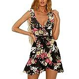 Forthery-Women Mini Dress Wrap V Neck Bohemian Floral Print Ruffle Beach A Line Swing Dress(Black,US Size XS = Tag S)