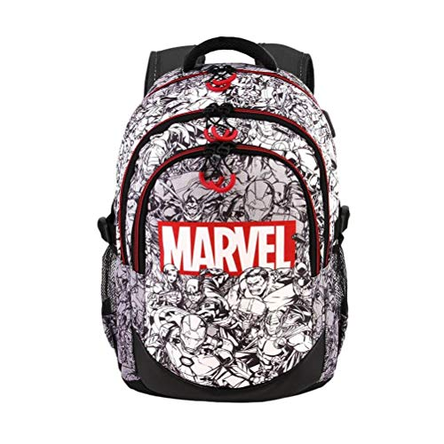 Marvel Characters Black and White Running Laptop