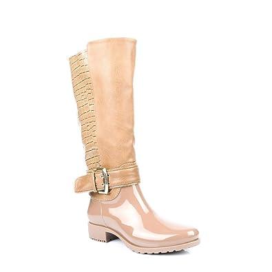 Ideal Shoes Gummistiefel, Bi-Material mit Teil Stil Reptile und Lochkoppel  Bernardine, Braun