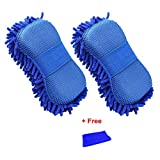 #6: Bhivorga Premium Chenille Microfiber Absorbent Car Wash Mitt with Elastic Strap Universal Scratch-Free, Lint-Free Sponge Pad Polishing With Ploshing Cloth