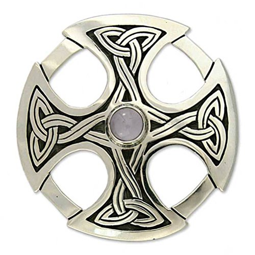 (NOVICA Moonstone .925 Sterling Silver Individual Brooch Pin 'Celtic Cross')