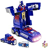 FunBox Optimus Prime Transformers Toy: Battery Operated Bump N Go Auto Transforming Action Figure/Toy Truck | Realistic Engine Sounds & Flashing Lights| Autobots Toy for Toddlers| Top Gifting Idea