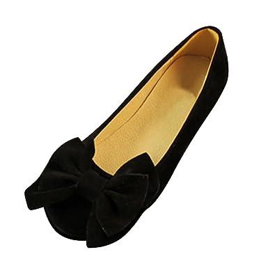 6f81a23946be3 OCHENTA 2017 2018 Femme Ballerines Plates Suedine Noeud Casual Elégant Noir  Etiquette 42-EU