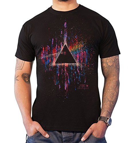 Pink Floyd T Shirt Dark Side of The Moon Rosa Splatter offiziell Herren Nue