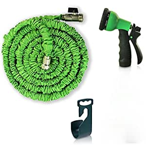 Ampliable Manguera de jardín–50pies. Retráctil, ligero y flexible–6patrón función boquilla de riego Jardinería Spray incluye conectores–latón–Enhanced libre Percha y soporte de almacenamiento