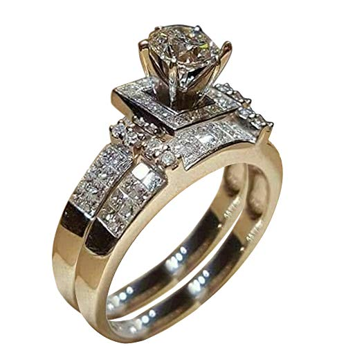 (WoCoo New Superb Women Shiny White Sapphire Diamond Engagement Ring Elegant Stackable Brid (Silver,8))